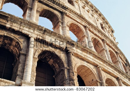 Ancient Walls of Great Roman amphitheater Colosseum in Rome, Italy