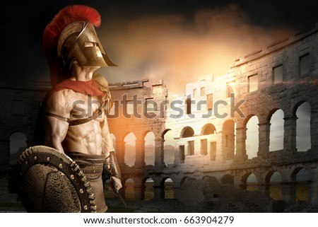 Ancient warrior or Gladiator posing in the arena