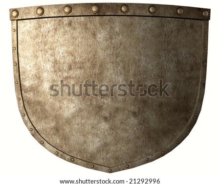 Ancient warrior shield isolated on white