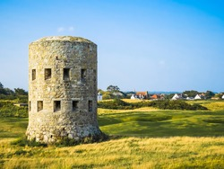 Ancient  watchtower on the seacoast of Guernsey, Channel Islands