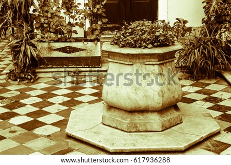 Ancient Well Patio   in Sepia #617936288
