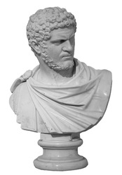 Ancient white marble sculpture bust of Caracalla. Marcus Aurelius Severus Antoninus Augustus known as Antoninus. Roman emperor. Isolated on white