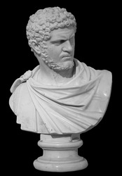 Ancient white marble sculpture bust of Caracalla. Marcus Aurelius Severus Antoninus Augustus known as Antoninus. Roman emperor. Isolated on black