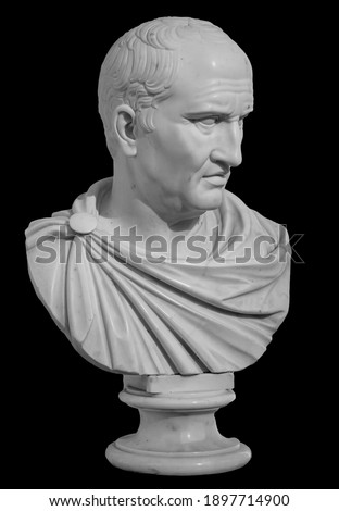 Ancient white marble sculpture bust of Cicero the politician, philosopher and orator lived in Ancient Rome Stock photo ©
