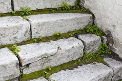 Ancient white stone stair with moss and greenery between steps closeup