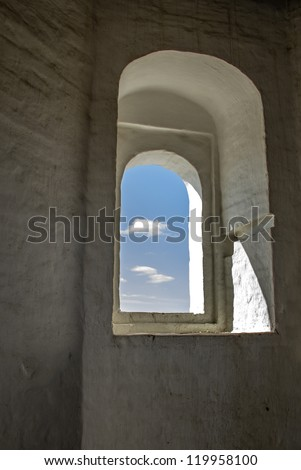 Ancient window with sky-view.