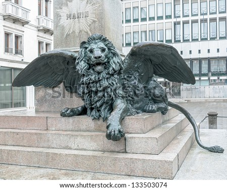 ancient winged lion on the...