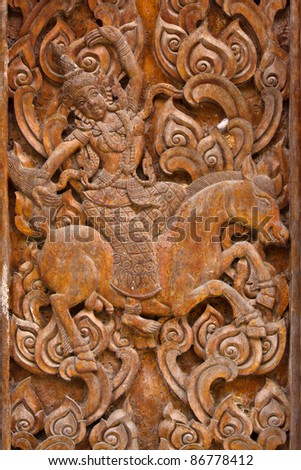 ancient wood carvings, Ramayana