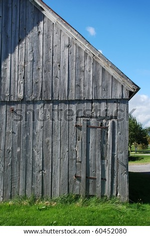 ancient wooden barn in Quebec Canada