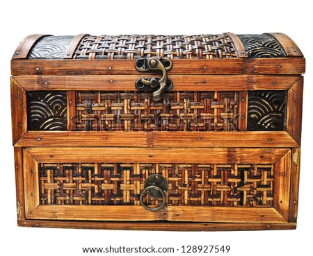 Ancient wooden chest isolated on white - stock photo