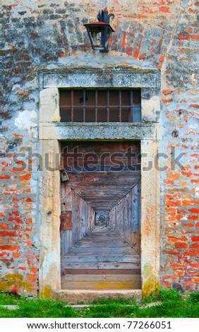 Ancient wooden door of the castle.