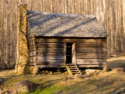 Ancient wooden house in the Smoky Mountains