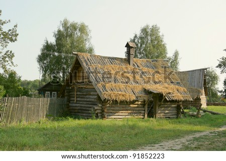 Ancient wooden houses in russian country side