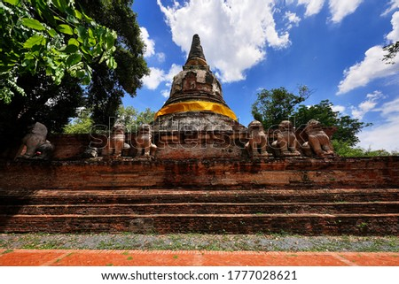 Anciuient Pogoda at Wat Mae Nang Pleum the old monastery which was established during Ayutthaya kingdom located in Ayutthaya Historical Park                               Zdjęcia stock ©