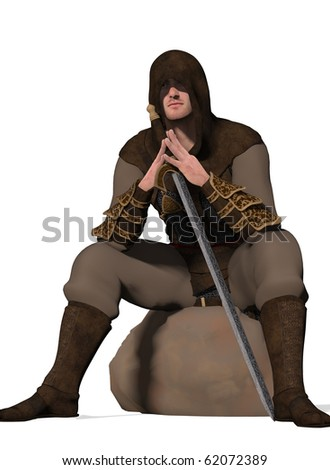 And armed warrior sits staring  (3D Render)