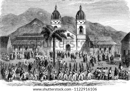 Andacollo, Chile, vintage engraved illustration. Magasin Pittoresque 1858.
