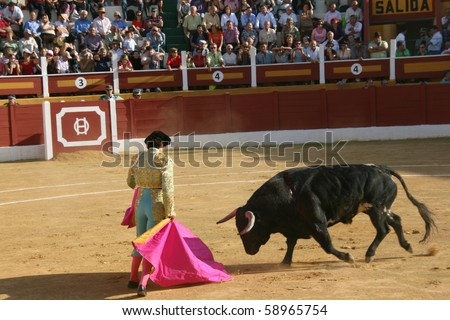 "ANDALUCIA - OCTOBER 17: ""Corrida"" (bullfight) of bulls, typical Spanish tradition where a torero (bullfighter) kills a bull. In the picture, ""Curro Diaz"". October 17, 2010 in Andalucia (Spain)"
