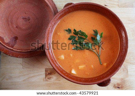 Andalusian gazpacho, a cold Spanish tomato-based raw vegetable soup.