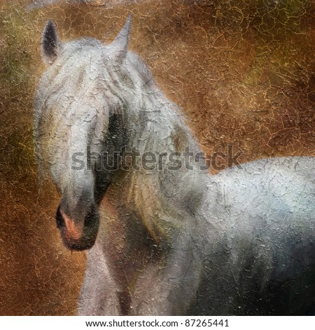 Andalusian  horse portrait. Simulation of old painting style