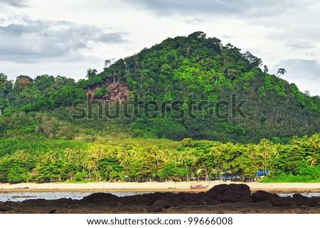 Andaman Shore at low tide, Koh Libong, Thailand - stock photo