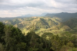 Andean mountains that surround the small Andean and coffee town of Salento, in the Quindio coffee region. Mountains of the Andes. Colombia.