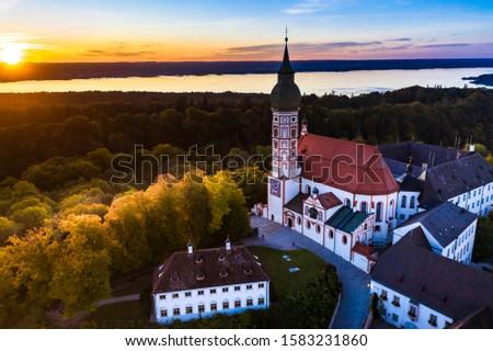 Andechs Monastery, aerial view at sunset, Ammersee, Fünfseenland, Pfaffenwinkel, Upper Bavaria, Bavaria, Germany, ストックフォト ©