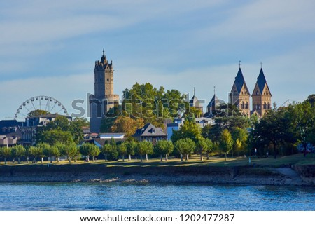 """Andernach city panorama picture with the famous round tower and the church """"Liebfrauenkirche"""""""