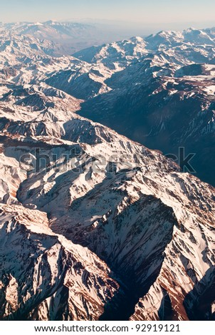 Andes mountains, Argentina Chile, aerial view