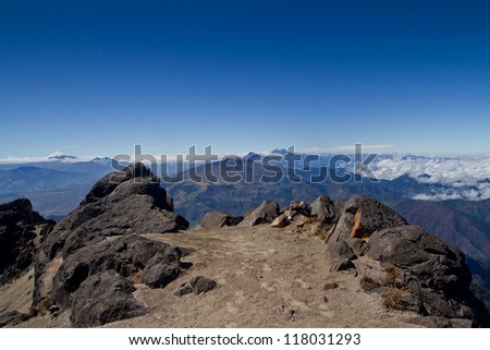 Andes mountains, Cotopaxi volcano, Ecuador, aerial view with blue skyes