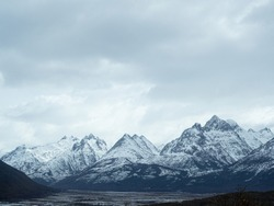 Andes Mountains panoramic view in cloudy weather