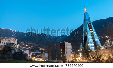 Andorra night view. mountain and city mixes in a magical way. The pyramid is the