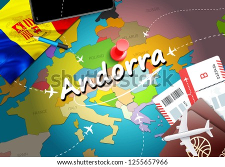 Andorra travel concept map background with planes, tickets. Visit Andorra travel and tourism destination concept. Andorra flag on map. Planes and flights to Andorran holidays to Andorra la Vella