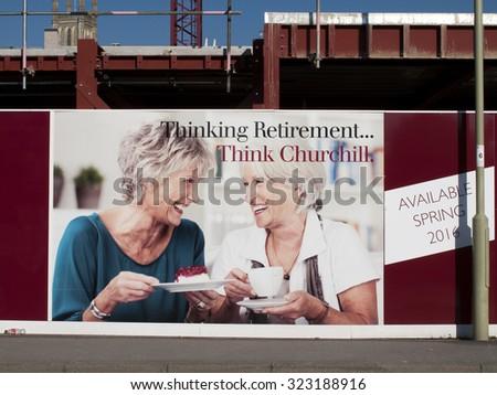 Andover, High Street, Hampshire, England - October 2, 2015: Churchill Retirement Living, retirement apartment construction site development
