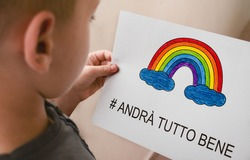 andra tutto bene, Everything is gonna be alright in hand drawing letters and a rainbow with clouds drawn by a child. quarantine corona virus flu, the covid 19.