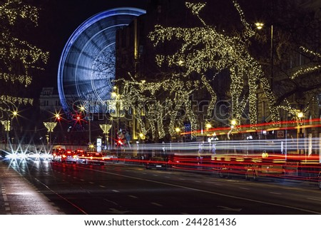 Andrassy road and the Budapest Eye, Budapest, Hungary - Budapest Eye is the new attraction of the city