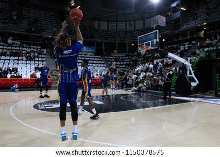 Andrew Albicy of Andorra during the 2019 EuroCup Basketball Game 1 of quarterfinals between LDLC ASVEL Villeurbanne and Morabanc Andorra on March 5, 2019 at Astroballe in Villeurbanne, France #1350378575