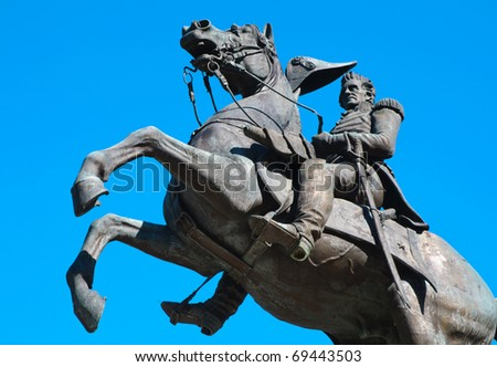 Andrew Jackson on horseback statue at the Tennessee State Capitol - stock photo