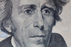 Andrew Jackson portrait macro usa twenty dollar banknote or bill.