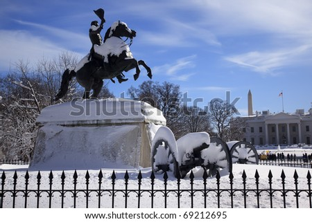 Andrew Jackson Statue Cannons President's Park Lafayette Square White House After Snow Washington DC 1850 Clark Mills Sculptor