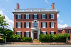 Andrew Safford House with Federal style at 13 Washington Square West in Historic city center of Salem, Massachusetts MA, USA. Now this building belongs to Peabody Essex Museum.