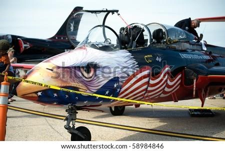 ANDREWS AFB, WASHINGTON DC- MAY 16: US Navy warbird on display at air show on May 16, 2010 in Washington DC. - stock photo