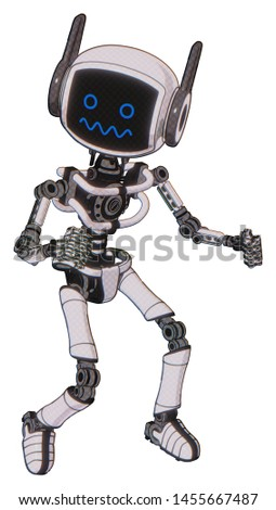 Android containing elements: digital display head, stunned expression, winglets, light chest exoshielding, no chest plating, ultralight foot exosuit. Material: White halftone toon.