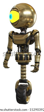 Android containing elements: giant eyeball head design, light chest exoshielding, ultralight chest exosuit, unicycle wheel. Material: Gold. Situation: Standing looking right restful pose.