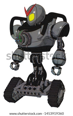 Android containing elements: grey alien style head, yellow eyes, heavy upper chest, chest energy gun, tank tracks. Material: Patent concrete gray metal. Situation: Standing looking right restful pose.