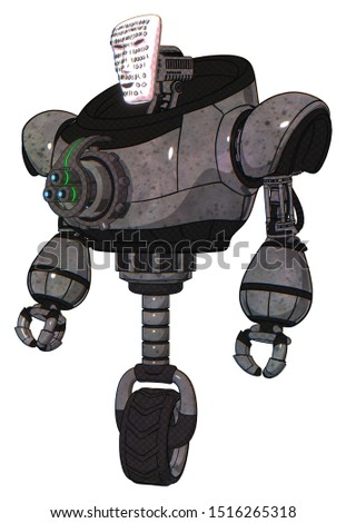 Android containing elements: humanoid face mask, binary war paint, heavy upper chest, chest energy gun, unicycle wheel. Material: Unpainted metal. Situation: Standing looking right restful pose.