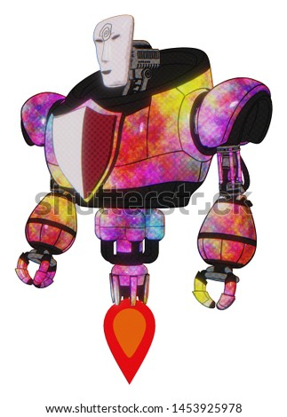 Android containing elements: humanoid face mask, spiral design, heavy upper chest, red shield defense design, jet propulsion. Material: Plasma burst. Situation: Standing looking right restful pose.