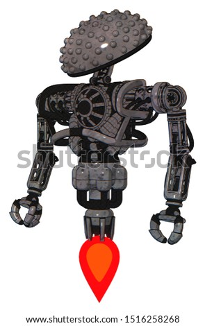 Android containing elements: knucklehead design, heavy upper chest, no chest plating, jet propulsion. Material: Unpainted metal. Situation: Standing looking right restful pose.