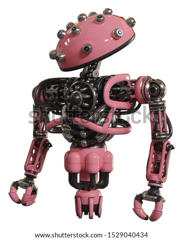 Android containing elements: plughead dome design, heavy upper chest, no chest plating, jet propulsion. Material: Pink. Situation: Standing looking right restful pose.