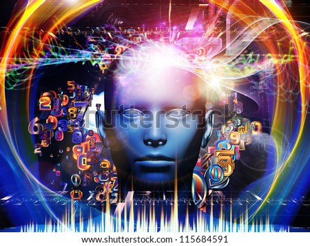 Android Dream series. Backdrop of  human model, numbers and design elements to complement your design on the subject of science, information and modern technology