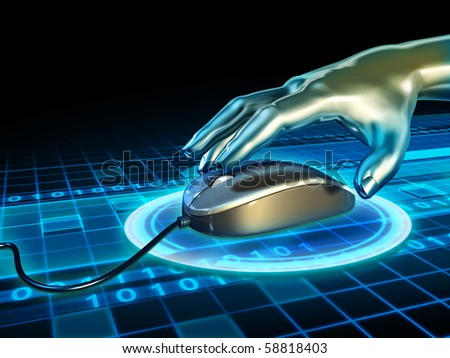 Android hand grabbing a mouse in cyberspace. Digital illustration.